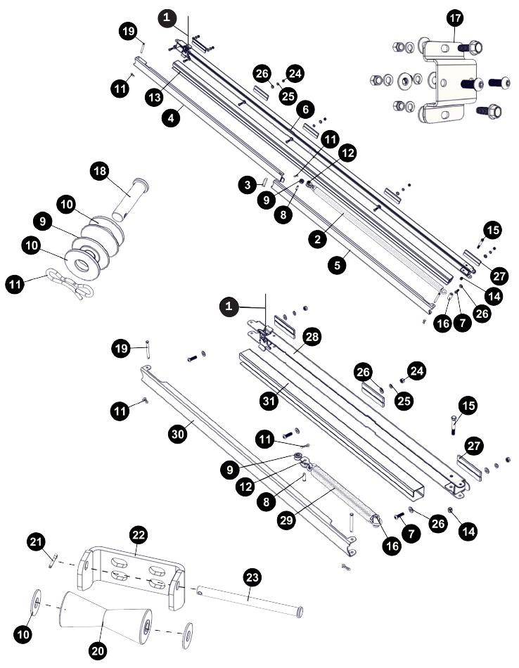 spring return  u0026 hardware for autolock electric tarp system