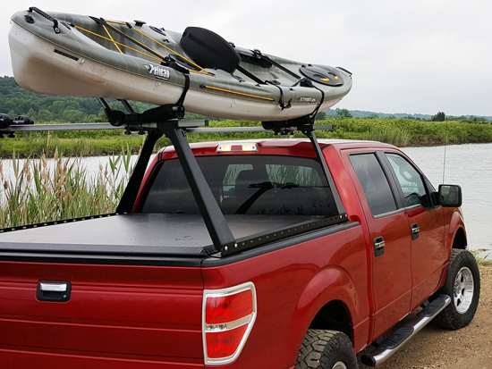 Tonneau Cover and Rack with Kayaks