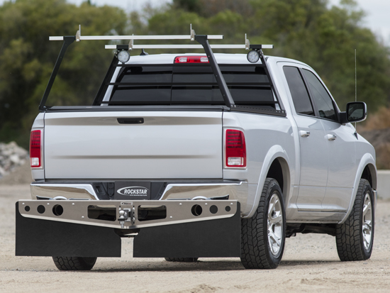 Truck with Tonneau Cover Rack and Mud Flaps