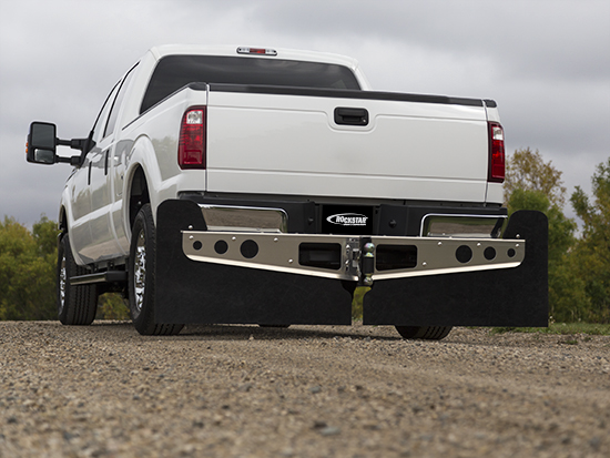 White Ford with Mud Flaps